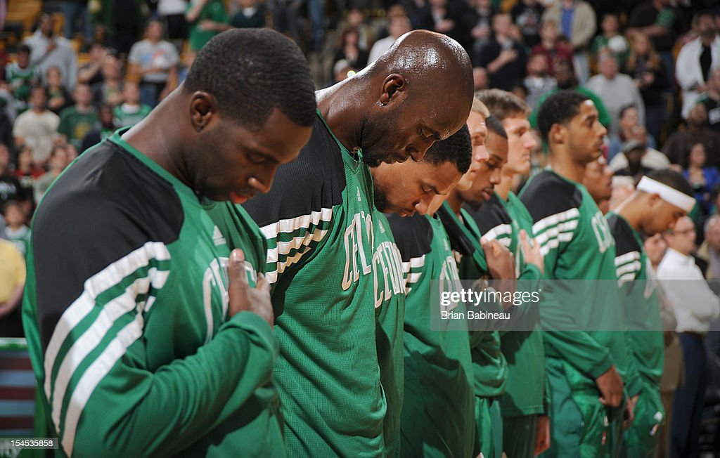 Kevin Garnett #5 of the Boston Celtics during the National Anthem before the game against the Philadelphia 76ers on October 21, 2012 at the TD Garden in Boston, Massachusetts.