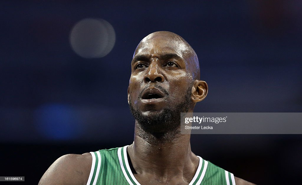Kevin Garnett #5 of the Boston Celtics during their game at Time Warner Cable Arena on February 11, 2013 in Charlotte, North Carolina.