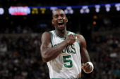 Kevin Garnett of the Boston Celtics gets pumped up during the game against the Detroit Pistons on April 3 2011 at the TD Garden in Boston...