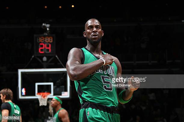 Kevin Garnett of the Boston Celtics gets pumped up pregame against the Washington Wizards at the Verizon Center on January 22 2011 in Washington DC...