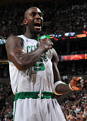 Kevin Garnett of the Boston Celtics gets ready before the game against the Orlando Magic in Game Three of the Eastern Conference Finals during the...