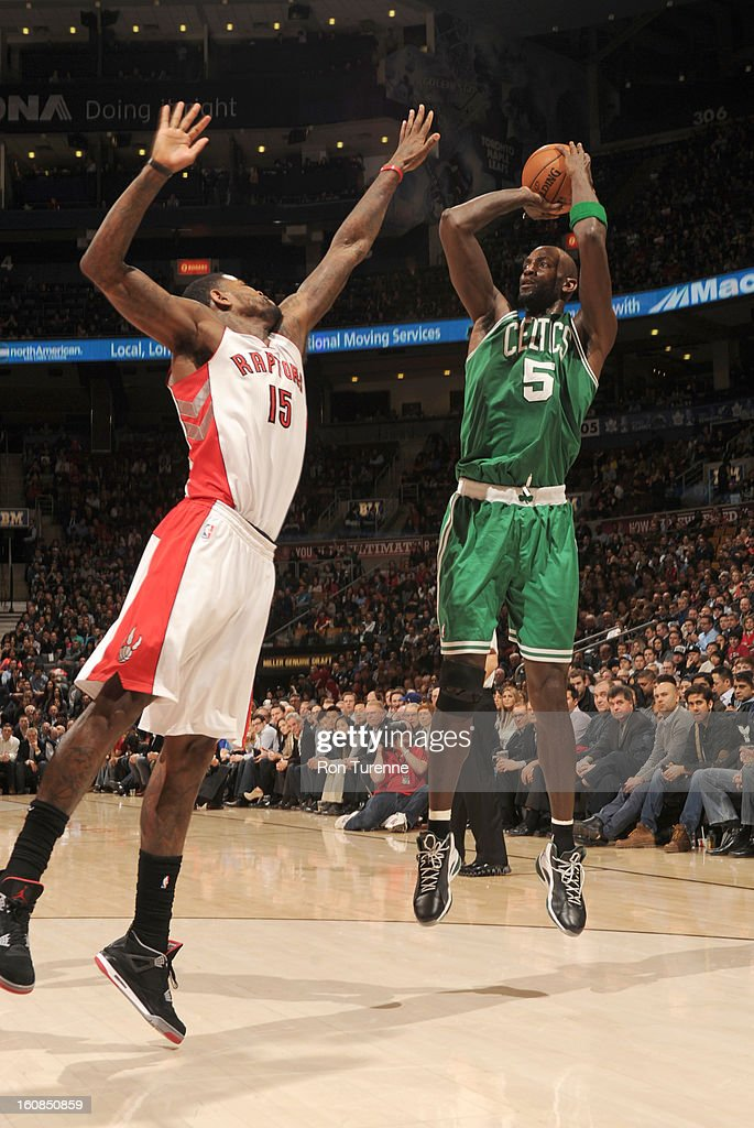 Kevin Garnett #5 of the Boston Celtics goes for a jump shot against Amir Johnson #15 of the Toronto Raptors during the game between the the Toronto Raptors and the Boston Celtics on February 6, 2013 at the Air Canada Centre in Toronto, Ontario, Canada.