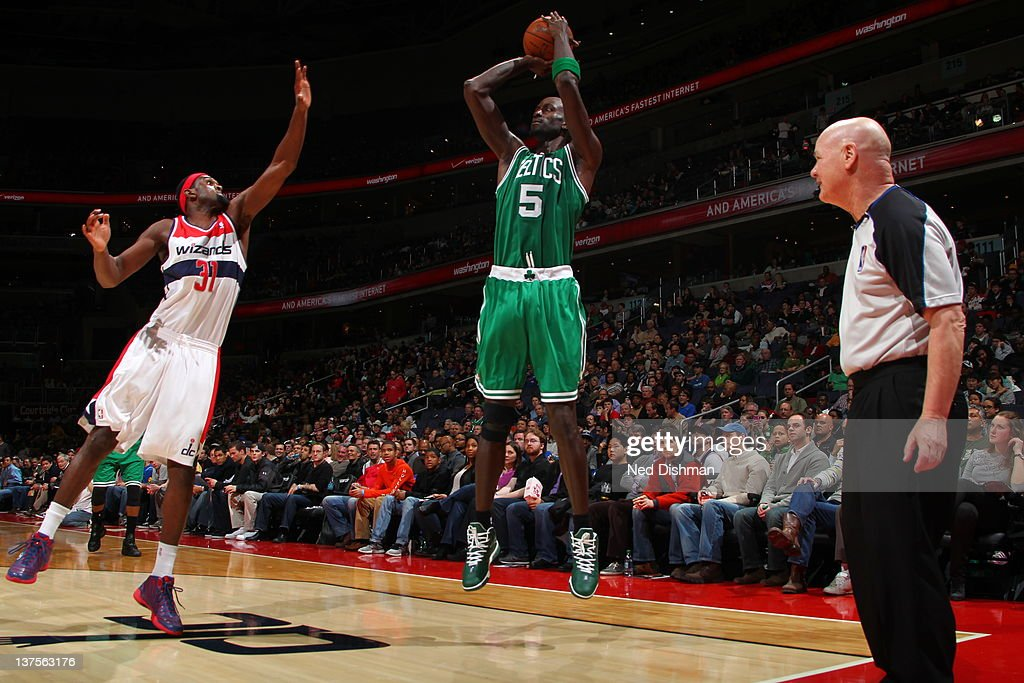 <a gi-track='captionPersonalityLinkClicked' href=/galleries/search?phrase=Kevin+Garnett&family=editorial&specificpeople=201473 ng-click='$event.stopPropagation()'>Kevin Garnett</a> #5 of the Boston Celtics goes for a jump shot against <a gi-track='captionPersonalityLinkClicked' href=/galleries/search?phrase=Chris+Singleton&family=editorial&specificpeople=241555 ng-click='$event.stopPropagation()'>Chris Singleton</a> #31 of the Washington Wizards during the game between the Washington Wizards and the Boston Celtics at the Verizon Center on January 22, 2012 in Washington, DC.