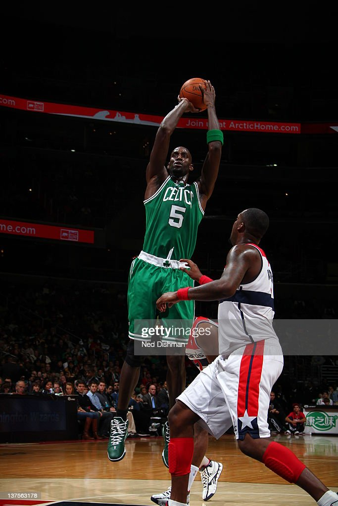 <a gi-track='captionPersonalityLinkClicked' href=/galleries/search?phrase=Kevin+Garnett&family=editorial&specificpeople=201473 ng-click='$event.stopPropagation()'>Kevin Garnett</a> #5 of the Boston Celtics goes for a jump shot during the game between the Washington Wizards and the Boston Celtics at the Verizon Center on January 22, 2012 in Washington, DC.