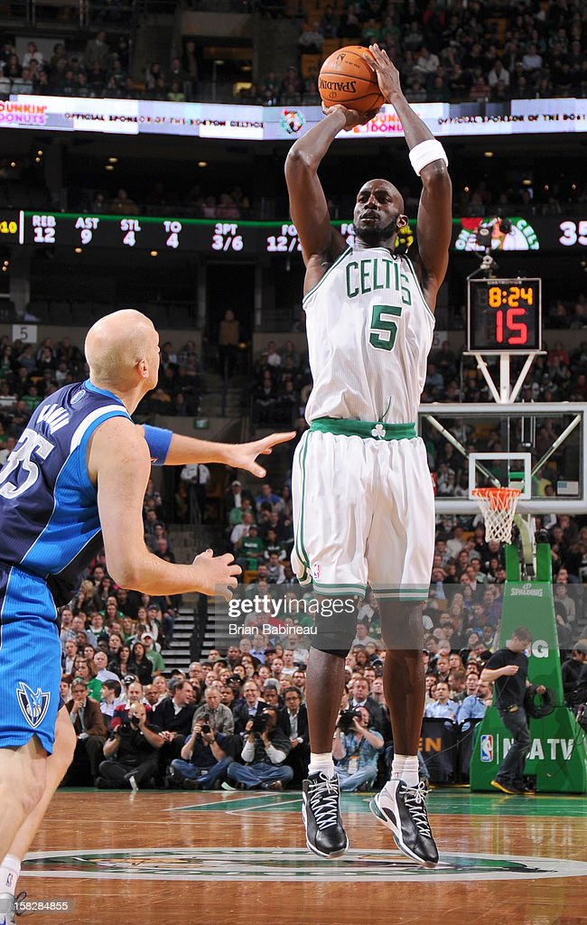 Kevin Garnett #5 of the Boston Celtics goes for a jump shot during the game between the Boston Celtics and the Dallas Mavericks on December 12, 2012 at the TD Garden in Boston, Massachusetts.