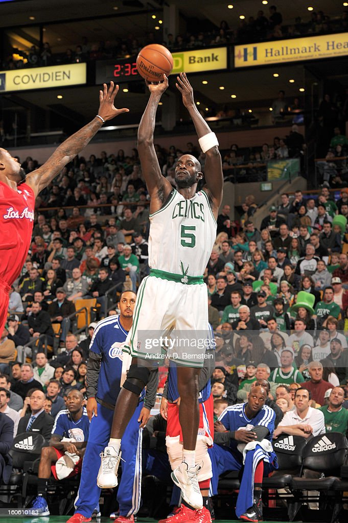 Kevin Garnett #5 of the Boston Celtics goes for a jump shot during the game between the Boston Celtics and the Los Angeles Clippers on February 3, 2013 at the TD Garden in Boston, Massachusetts.