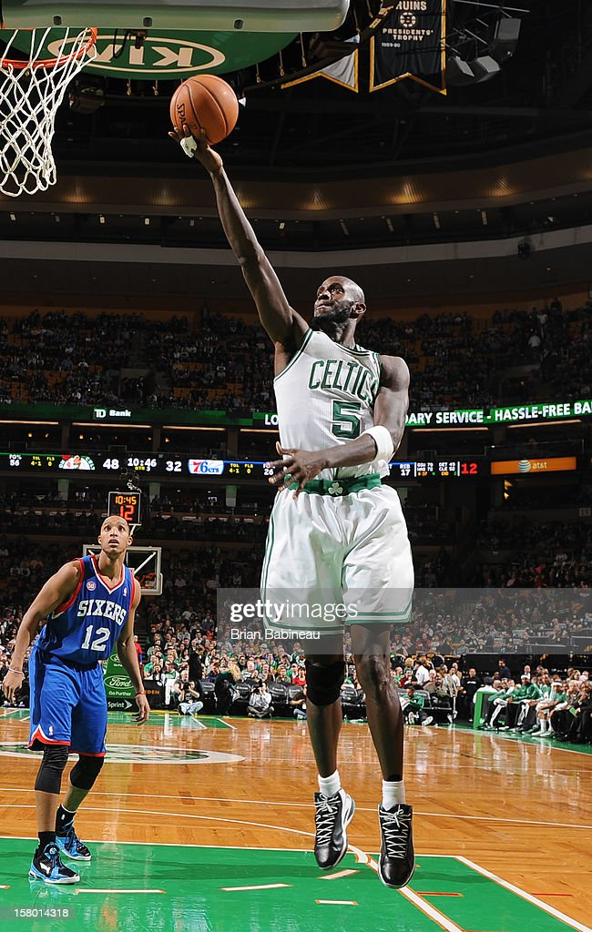 Kevin Garnett #5 of the Boston Celtics goes to the basket against the Philadelphia 76ers on December 8, 2012 at the TD Garden in Boston, Massachusetts.