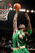 Kevin Garnett of the Boston Celtics goes to the basket against the New Orleans Hornets at the New Orleans Arena March 22 2008 in New Orleans...