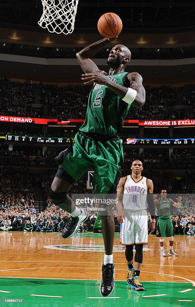 Kevin Garnett #5 of the Boston Celtics goes to the basket against thje Oklahoma City Thunder on November 23, 2012 at the TD Garden in Boston, Massachusetts.