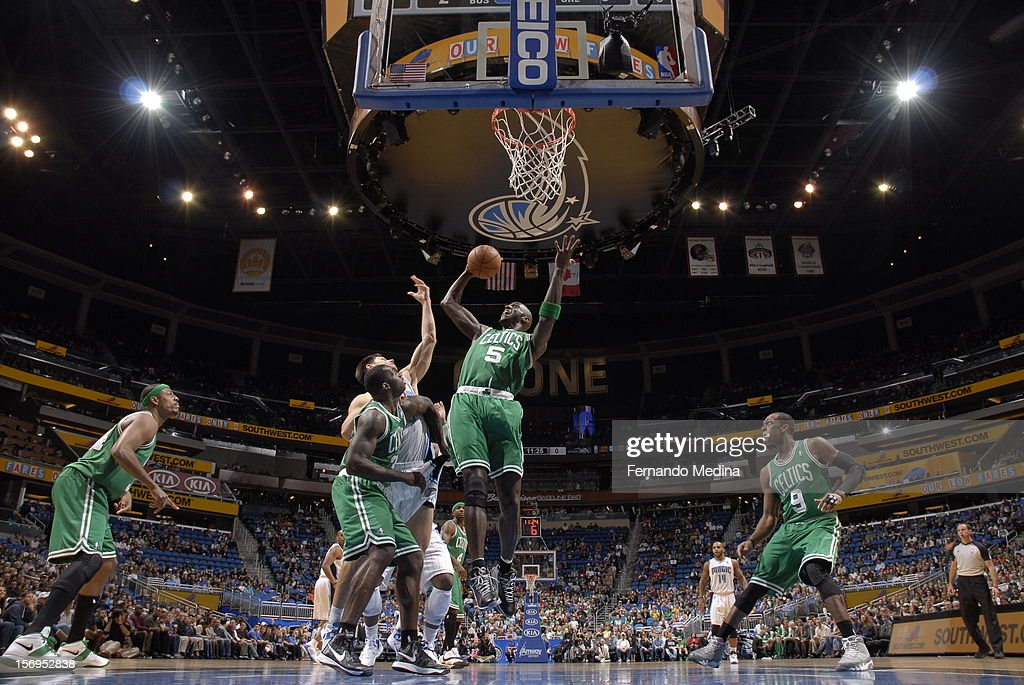 Kevin Garnett #5 of the Boston Celtics goes to the basket during the game between the Boston Celtics and the Orlando Magic on November 25, 2012 at Amway Center in Orlando, Florida.