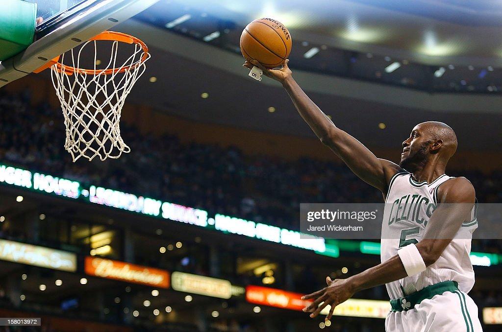Kevin Garnett #5 of the Boston Celtics goes up for a layup against the Philadelphia 76ers during the game on December 8, 2012 at TD Garden in Boston, Massachusetts.