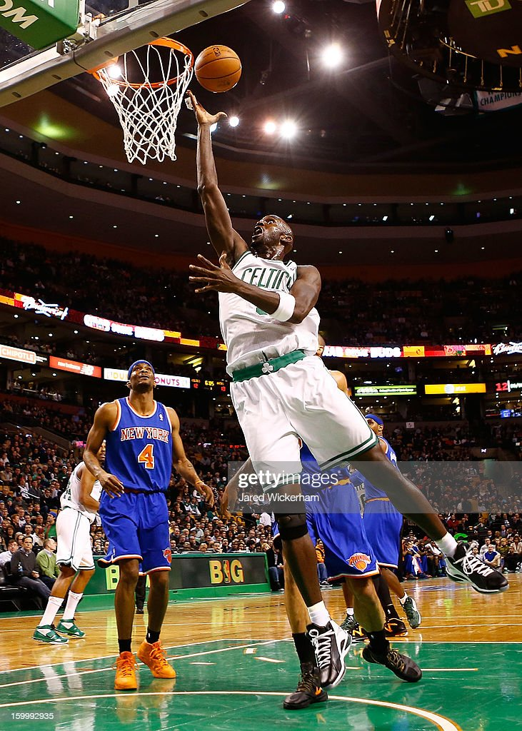 Kevin Garnett #5 of the Boston Celtics goes up for a layup against the New York Knicks during the game on January 24, 2013 at TD Garden in Boston, Massachusetts.