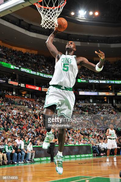 Kevin Garnett of the Boston Celtics goes up for the dunk the against the Oklahoma City Thunder on March 31 2010 at the TD Garden in Boston...