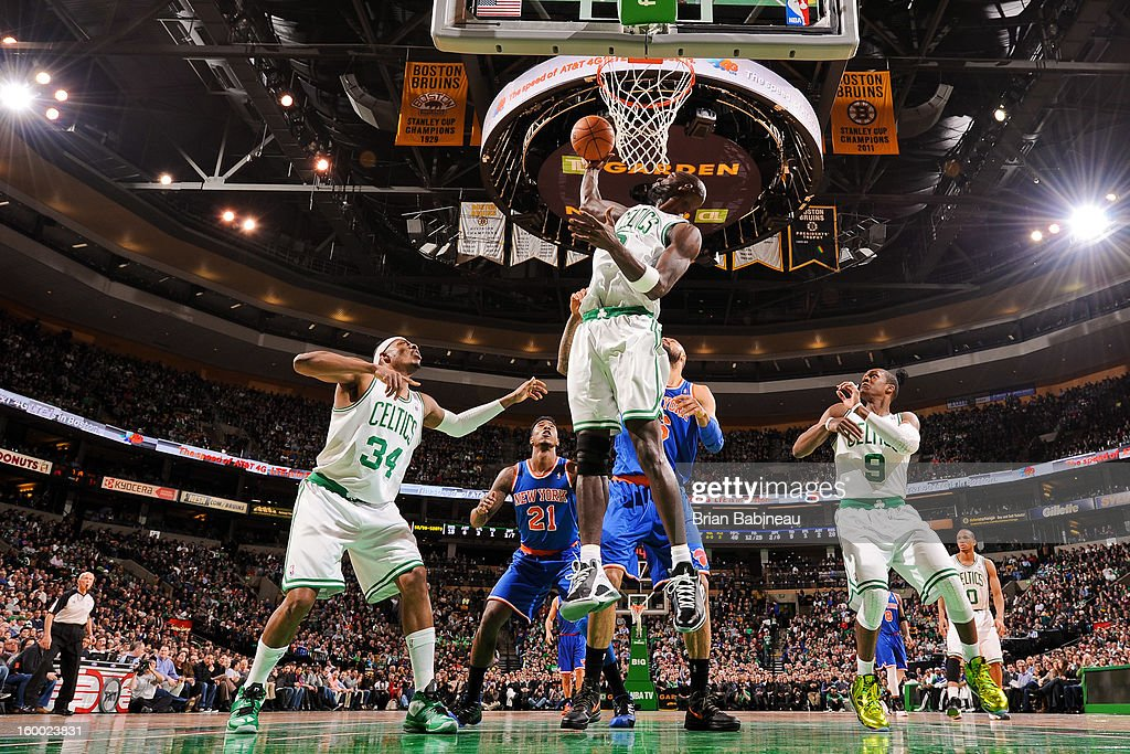 Kevin Garnett #5 of the Boston Celtics grabs a rebound against the New York Knicks on January 24, 2013 at the TD Garden in Boston, Massachusetts.