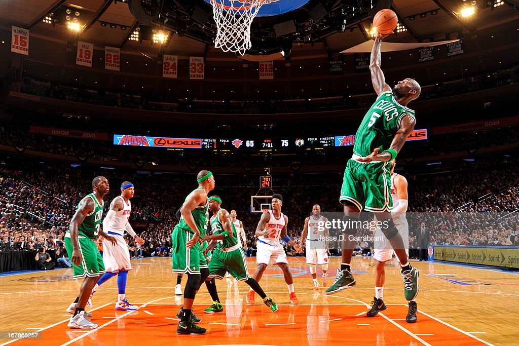 Kevin Garnett #5 of the Boston Celtics grabs a rebound against the New York Knicks in Game Five of the Eastern Conference Quarterfinals during the 2013 NBA Playoffs on May 1, 2013 at Madison Square Garden in New York City.