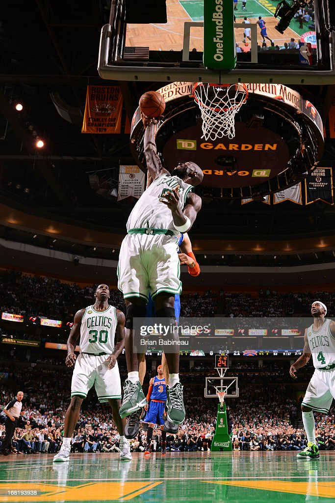Kevin Garnett #5 of the Boston Celtics grabs a rebound against the New York Knicks in Game Six of the Eastern Conference Quarterfinals during the NBA Playoffs on May 3, 2013 at the TD Garden in Boston, Massachusetts.