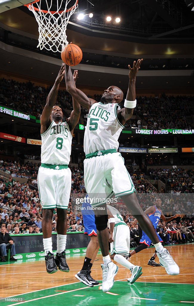 Kevin Garnett #5 of the Boston Celtics grabs a rebound against the Philadelphia 76ers on November 9, 2012 at the TD Garden in Boston, Massachusetts.