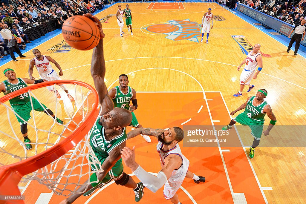 Kevin Garnett #5 of the Boston Celtics grabs a rebound against Tyson Chandler #6 of the New York Knicks in Game Five of the Eastern Conference Quarterfinals during the 2013 NBA Playoffs on May 1, 2013 at Madison Square Garden in New York City.