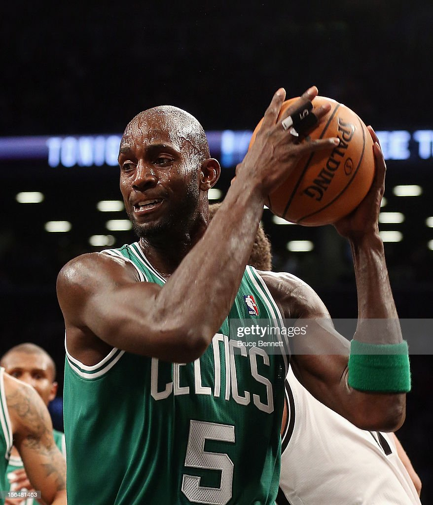 Kevin Garnett #5 of the Boston Celtics grabs a rebound during the game against the Brooklyn Nets at the Barclays Center on November 15, 2012 in the Brooklyn borough of New York City.