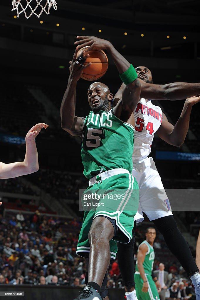 Kevin Garnett #5 of the Boston Celtics grabs the rebound against Jason Maxiell #54 of the Detroit Pistons on November 18, 2012 at The Palace of Auburn Hills in Auburn Hills, Michigan.