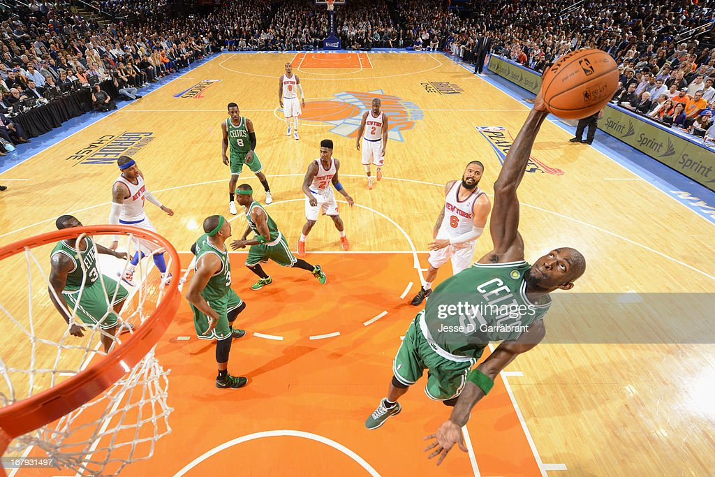 Kevin Garnett #5 of the Boston Celtics grabs the rebound against the New York Knicks during Game Five of the 2013 NBA Playoffs on May 1, 2013 at Madison Square Garden in New York City, New York.