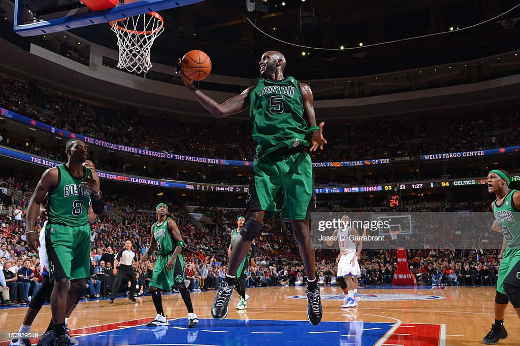 Kevin Garnett #5 of the Boston Celtics grabs the rebound against the Philadelphia 76ers at the Wells Fargo Center on December 7, 2012 in Philadelphia, Pennsylvania.
