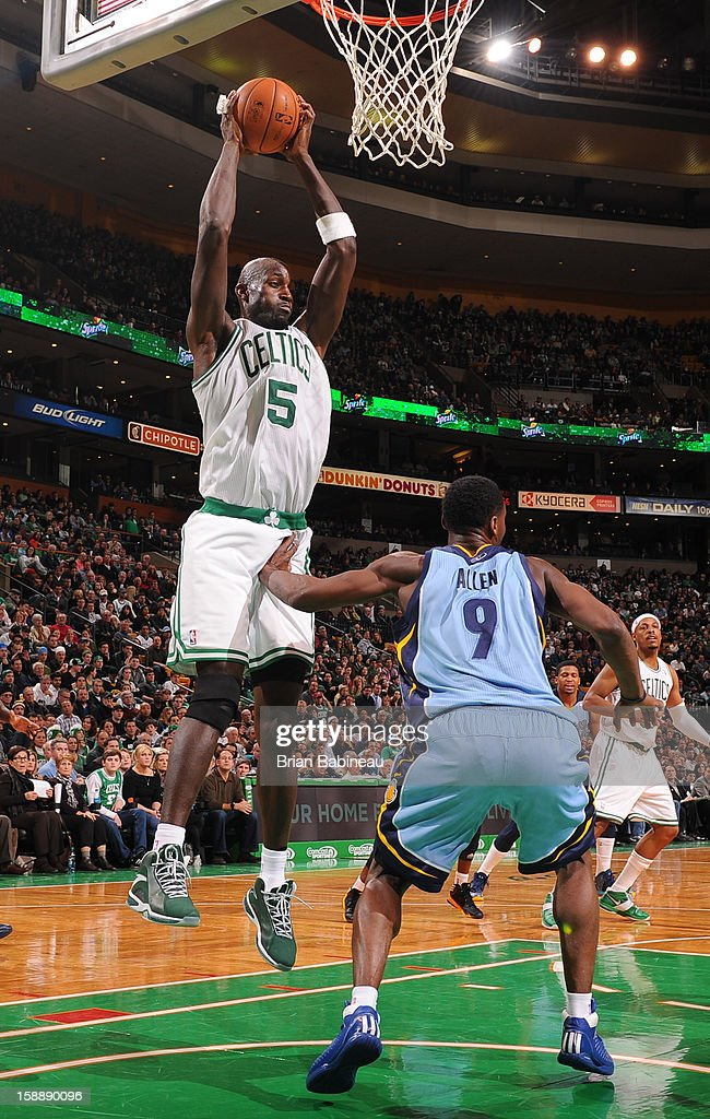 Kevin Garnett #5 of the Boston Celtics grabs the rebound against the Memphis Grizzlies on January 2, 2013 at the TD Garden in Boston, Massachusetts.