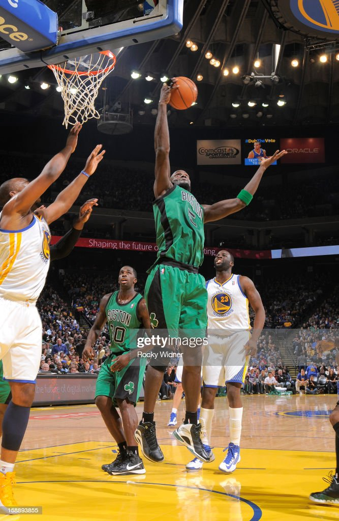 Kevin Garnett #5 of the Boston Celtics grabs the rebound against the Golden State Warriors on December 29, 2012 at Oracle Arena in Oakland, California.