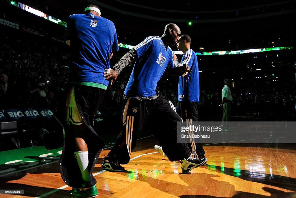 Kevin Garnett #5 of the Boston Celtics greets teammates before playing against the New York Knicks on January 24, 2013 at the TD Garden in Boston, Massachusetts.