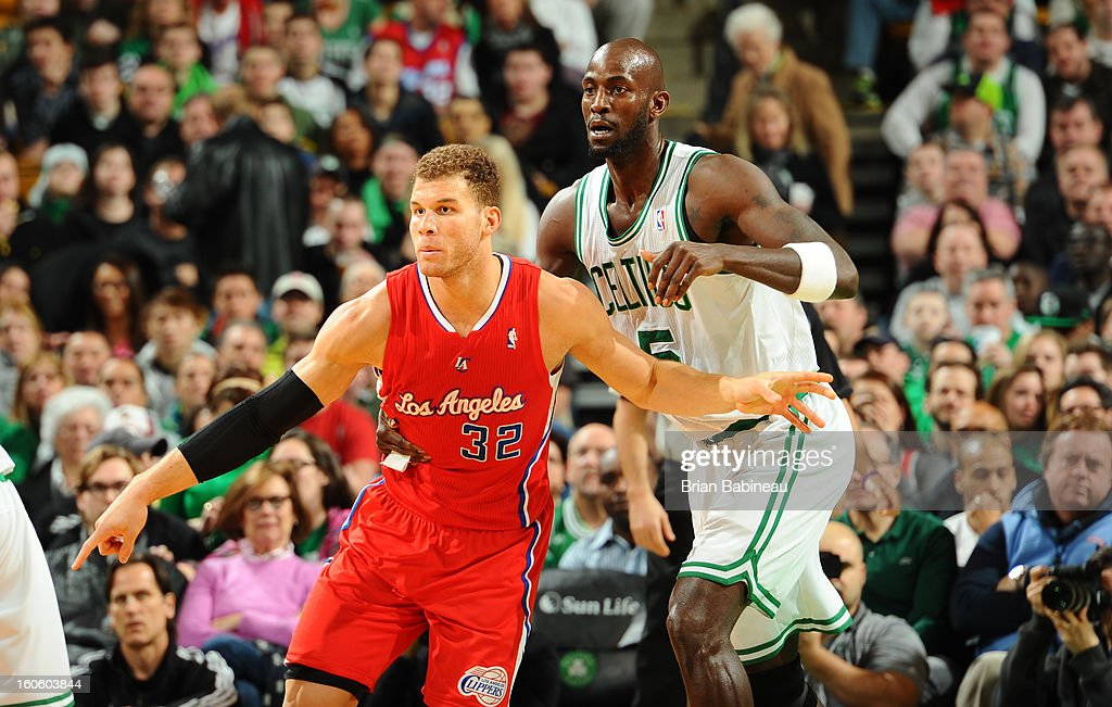 Kevin Garnett #5 of the Boston Celtics guards Blake Griffin #32 of the Los Angeles Clippers on February 3, 2013 at the TD Garden in Boston, Massachusetts.