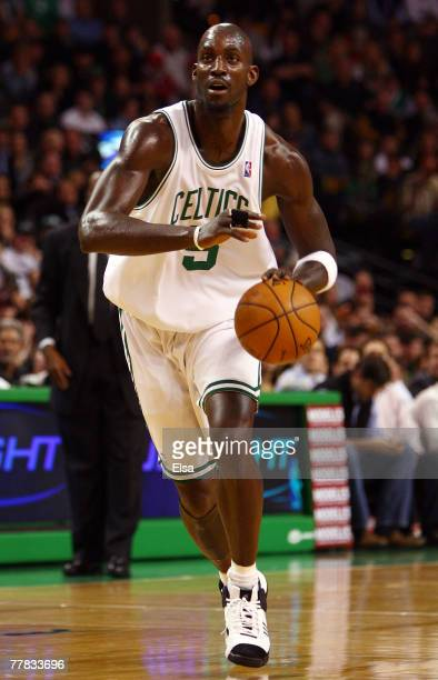 Kevin Garnett of the Boston Celtics heads for the hoop in the first quarter against the Atlanta Hawks on November 9 2007 at the TD Banknorth Garden...