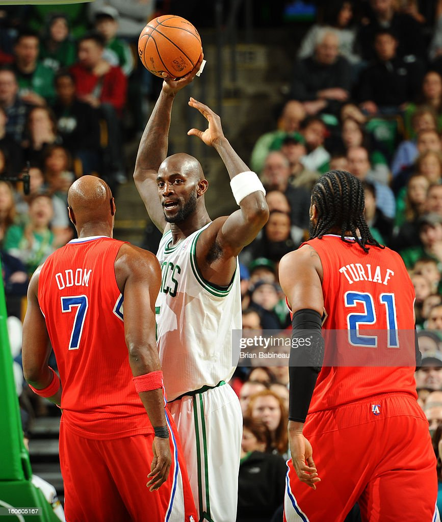 Kevin Garnett #5 of the Boston Celtics holds up the ball against the Los Angeles Clippers on February 3, 2013 at the TD Garden in Boston, Massachusetts.