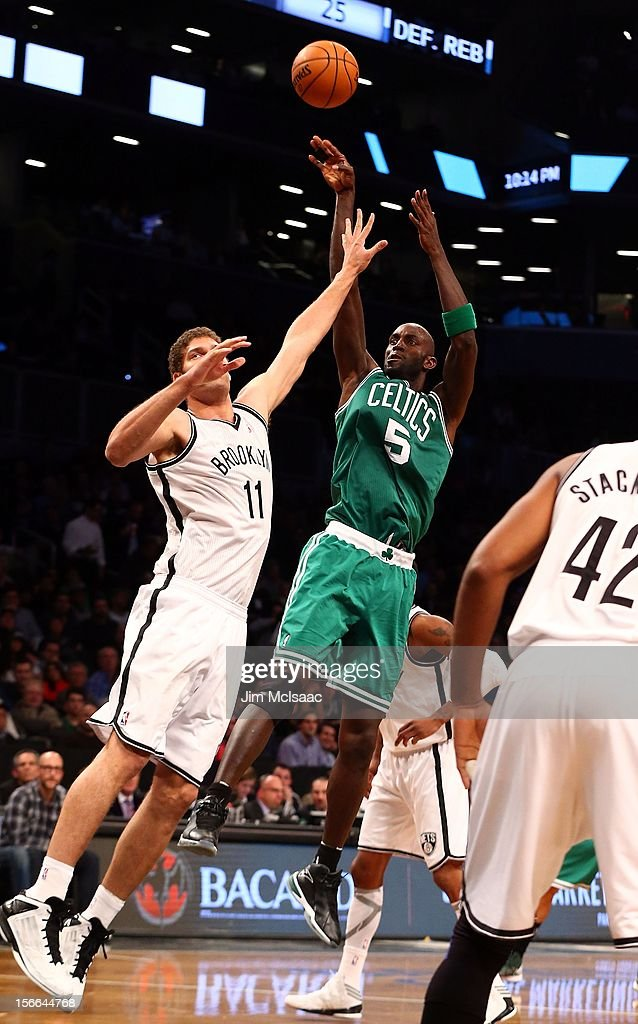 Kevin Garnett #5 of the Boston Celtics in action against Brook Lopez #11 of the Brooklyn Nets at Barclays Center on November 15, 2012 in the Brooklyn borough of New York City.The Nets defeated the Celtics 102-97.