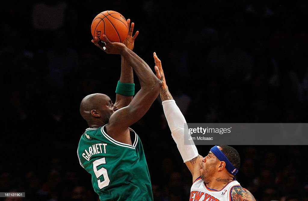 Kevin Garnett #5 of the Boston Celtics in action against Kenyon Martin #3 of the New York Knicks during Game Two of the Eastern Conference Quarterfinals of the 2013 NBA Playoffs on April 23, 2013 at Madison Square Garden in New York City. The Knicks defeated the Celtics 87-71.
