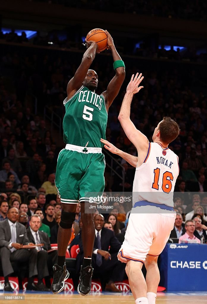 Kevin Garnett #5 of the Boston Celtics in action against Steve Novak #16 of the New York Knicks at Madison Square Garden on January 7, 2013 in New York City. The Celtics defeated the Knicks 102-96.