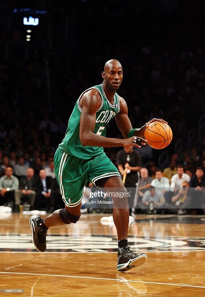 Kevin Garnett #5 of the Boston Celtics in action against the Brooklyn Nets at Barclays Center on November 15, 2012 in the Brooklyn borough of New York City.The Nets defeated the Celtics 102-97.