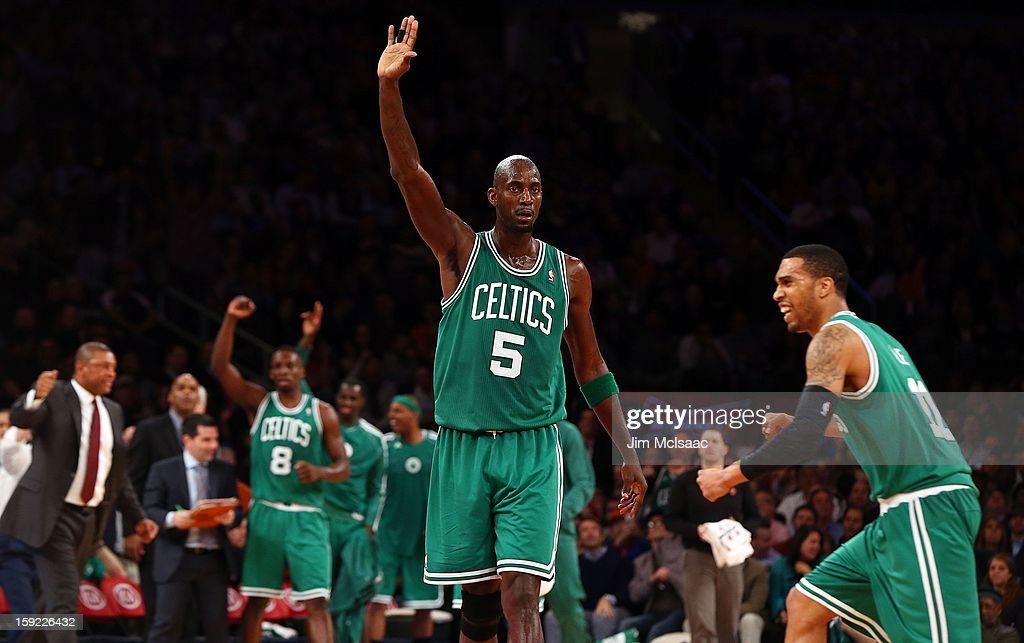 Kevin Garnett #5 of the Boston Celtics in action against the New York Knicks at Madison Square Garden on January 7, 2013 in New York City. The Celtics defeated the Knicks 102-96.