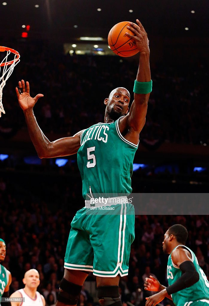 Kevin Garnett #5 of the Boston Celtics in action against the New York Knicks during Game Five of the Eastern Conference Quarterfinals of the 2013 NBA Playoffs on May 1, 2013 at Madison Square Garden in New York City. The Celtics defeated the Knicks 92-86.