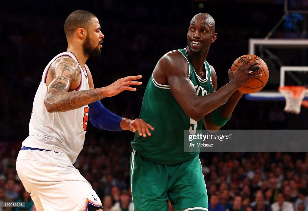 Kevin Garnett #5 of the Boston Celtics in action against Tyson Chandler #6 of the New York Knicks at Madison Square Garden on January 7, 2013 in New York City. The Celtics defeated the Knicks 102-96.