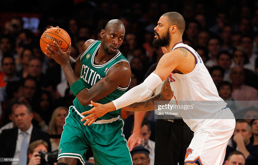 Kevin Garnett #5 of the Boston Celtics in action against Tyson Chandler #6 of the New York Knicks during Game Two of the Eastern Conference Quarterfinals of the 2013 NBA Playoffs on April 23, 2013 at Madison Square Garden in New York City. The Knicks defeated the Celtics 87-71.