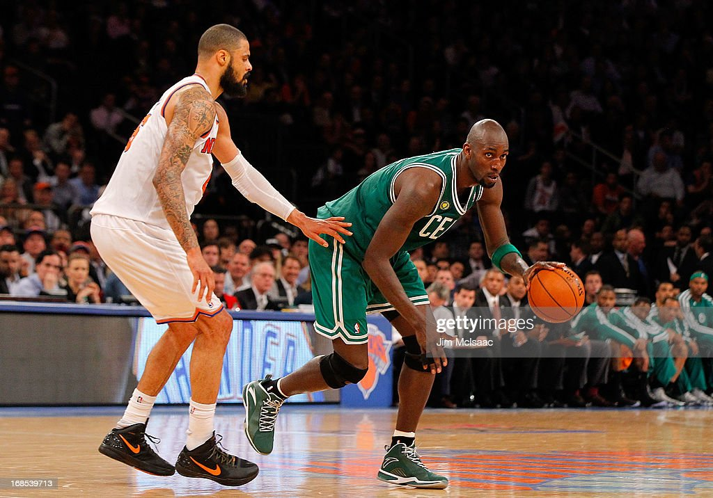 Kevin Garnett #5 of the Boston Celtics in action against Tyson Chandler #6 of the New York Knicks during Game Five of the Eastern Conference Quarterfinals of the 2013 NBA Playoffs on May 1, 2013 at Madison Square Garden in New York City. The Celtics defeated the Knicks 92-86.