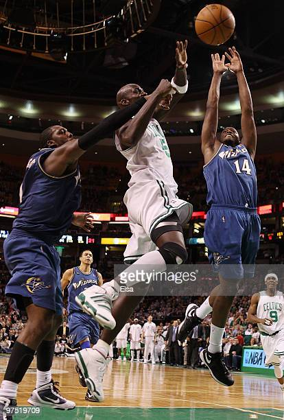 Kevin Garnett of the Boston Celtics is fouled by Andray Blatche as Al Thornton goes after the ball on March 7 2010 at the TD Garden in Boston...