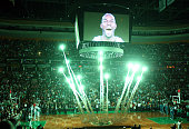 Kevin Garnett of the Boston Celtics lights up the jumbotron for player introductions during the home opener against the Washington Wizards on...