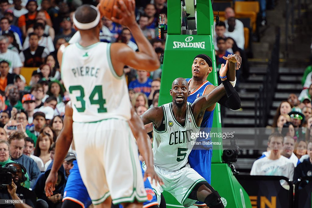 Kevin Garnett #5 of the Boston Celtics looks for the pass from Paul Pierce #34 against the New York Knicks during Game Three of the Eastern Conference Quarterfinals on April 26, 2013 at the TD Garden in Boston, Massachusetts.