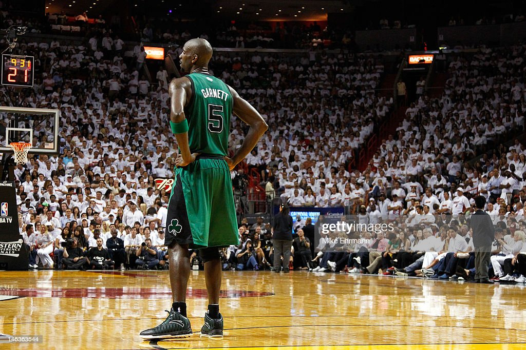 Kevin Garnett #5 of the Boston Celtics looks on against the Miami Heat in Game Two of the Eastern Conference Finals in the 2012 NBA Playoffs on May 30, 2012 at American Airlines Arena in Miami, Florida.
