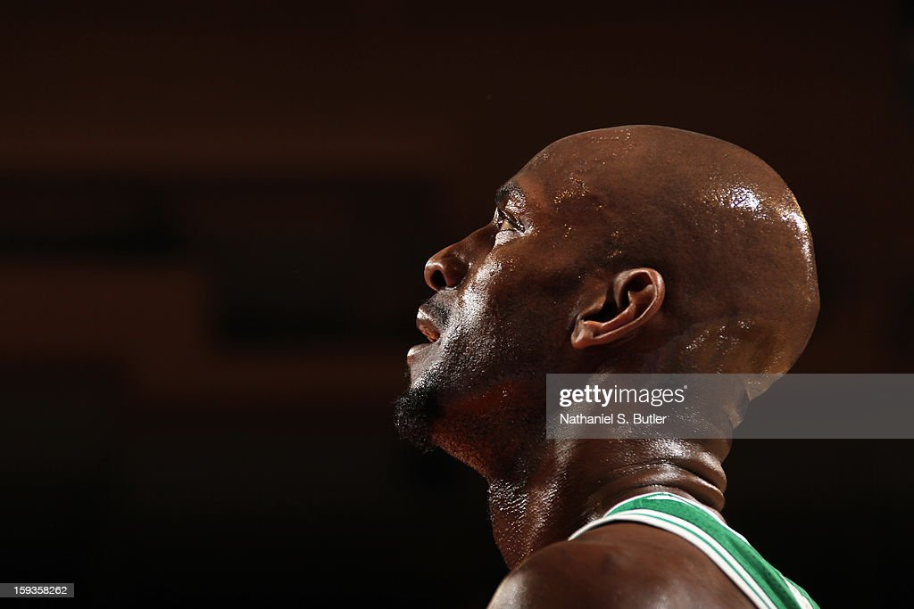 Kevin Garnett #5 of the Boston Celtics looks on during the game against the New York Knicks on January 7, 2013 at Madison Square Garden in New York City.
