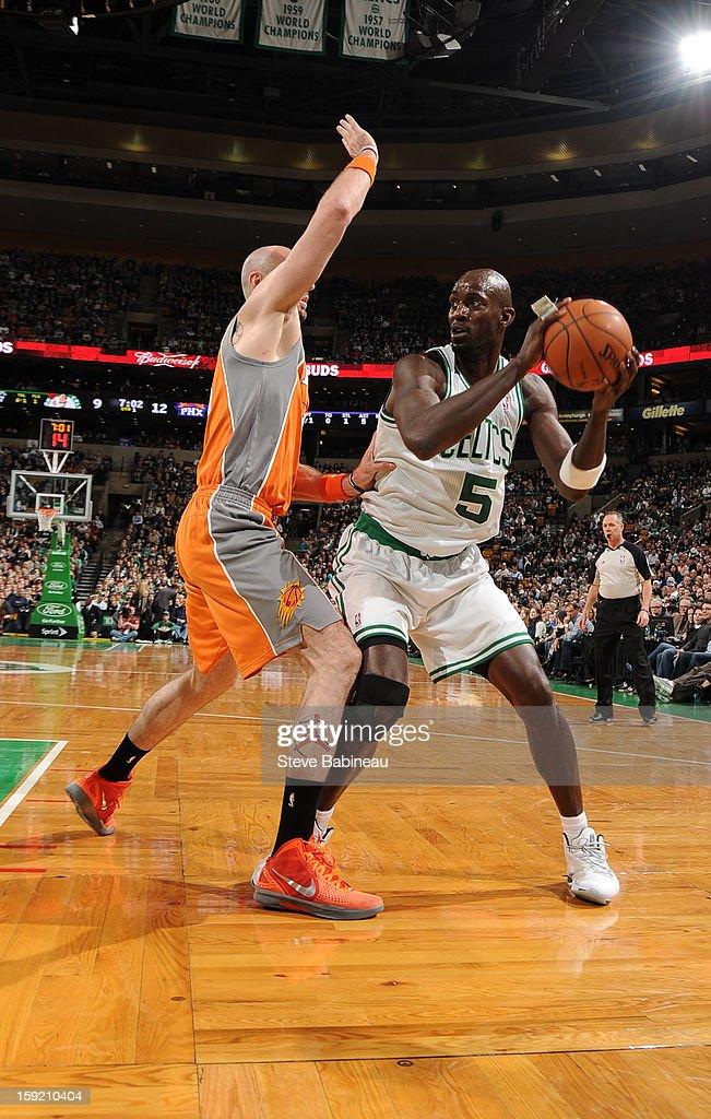 Kevin Garnett #5 of the Boston Celtics looks to drive to the basket against the Phoenix Suns on January 9, 2013 at the TD Garden in Boston, Massachusetts.