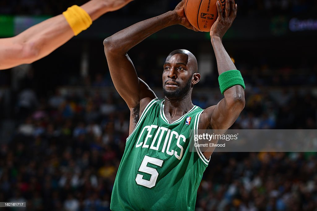 Kevin Garnett #5 of the Boston Celtics looks to pass the ball against the Denver Nuggets on February 19, 2013 at the Pepsi Center in Denver, Colorado.