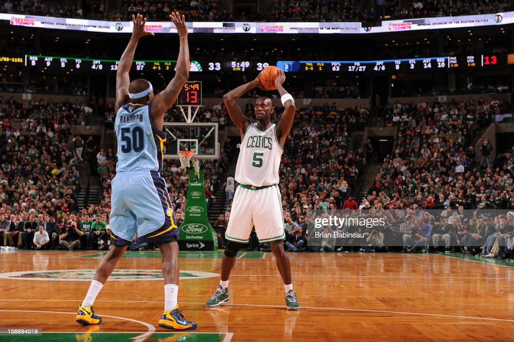 Kevin Garnett #5 of the Boston Celtics looks to passes the ball downlow against the Memphis Grizzlies on January 2, 2013 at the TD Garden in Boston, Massachusetts.