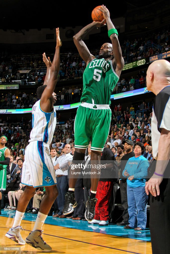 Kevin Garnett #5 of the Boston Celtics misses the game winning shot against Al-Farouq Aminu #0 of the New Orleans Hornets on March 20, 2013 at the New Orleans Arena in New Orleans, Louisiana.